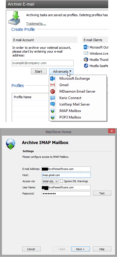 MailStoreHome imap settings