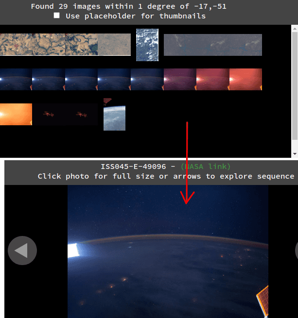Online ISS Photo Explorer in action