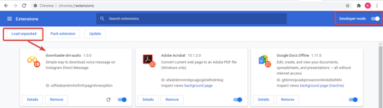 Visit Extensions Page on Chrome