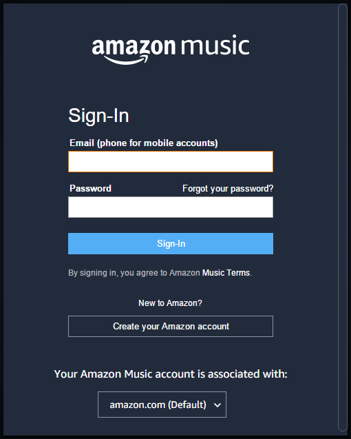 Sign in to Amazon Music