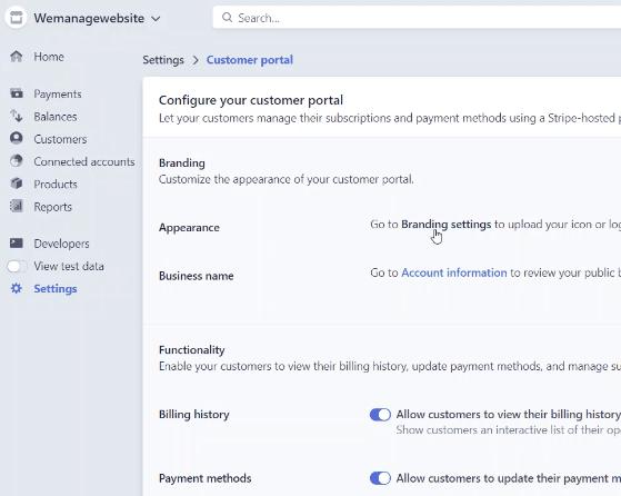 Stripe Customer Portal customizations