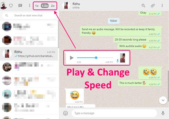 Change WhatsApp Audio Message Replay Speed