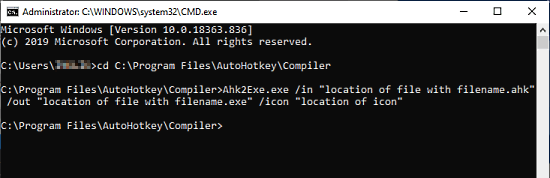 convert ahk to exe via command line