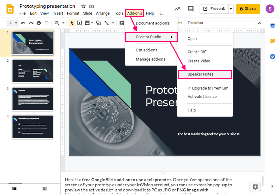 download speaker notes from google slides