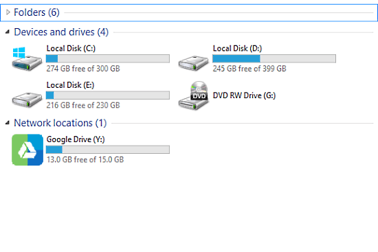 know folder size on google drive