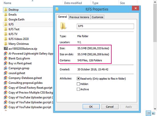 google drive folder size