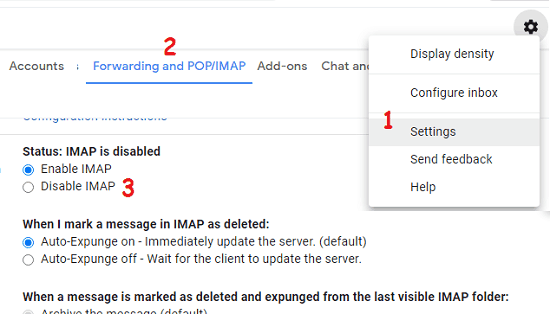 imap enable gmail
