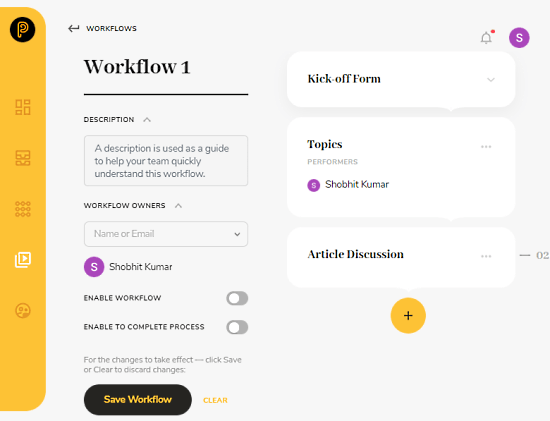 create workflow with tasks