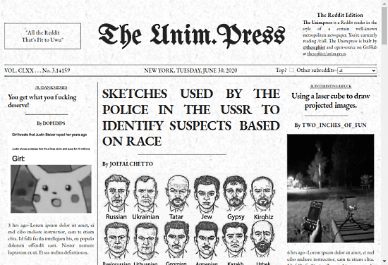 Reddit front-page reader in the style of The New York Times