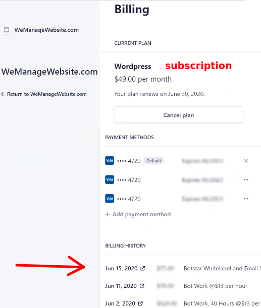 subscription and billing history