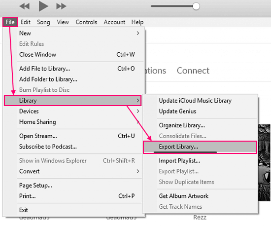 export library from iTunes