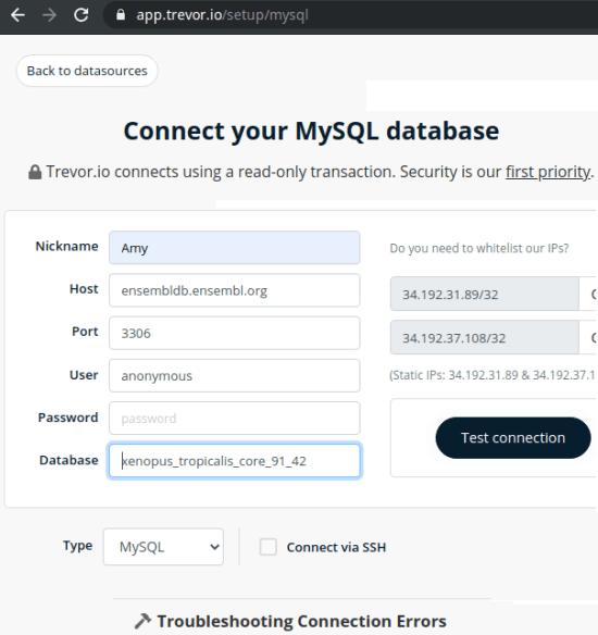 trevor database connection
