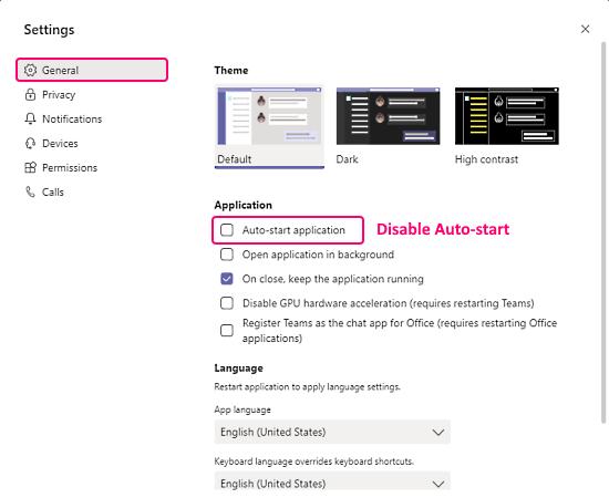 disable autostart Microsoft Teams app