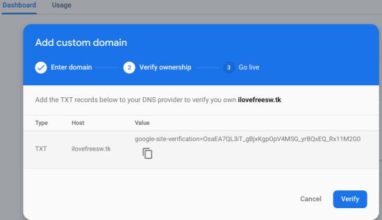 Firebase add a custom domain and verification