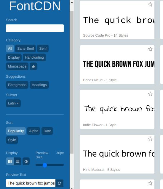 Font CDN for Google Fonts