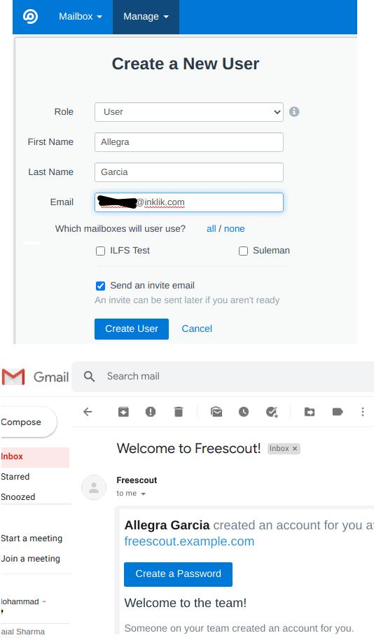 FreeScout create a user