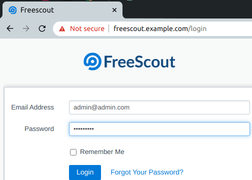 FreeScout login on localhost