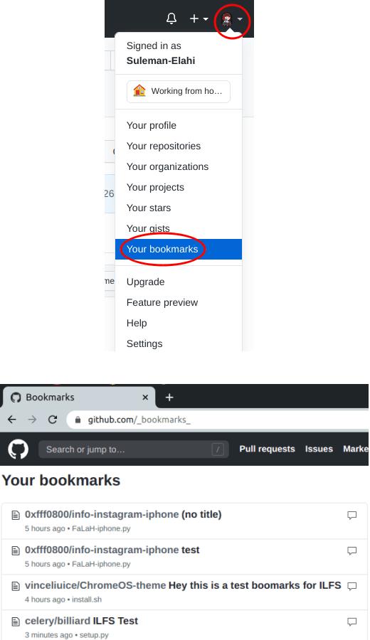 GitHub Bookamarks in GitHub Profile