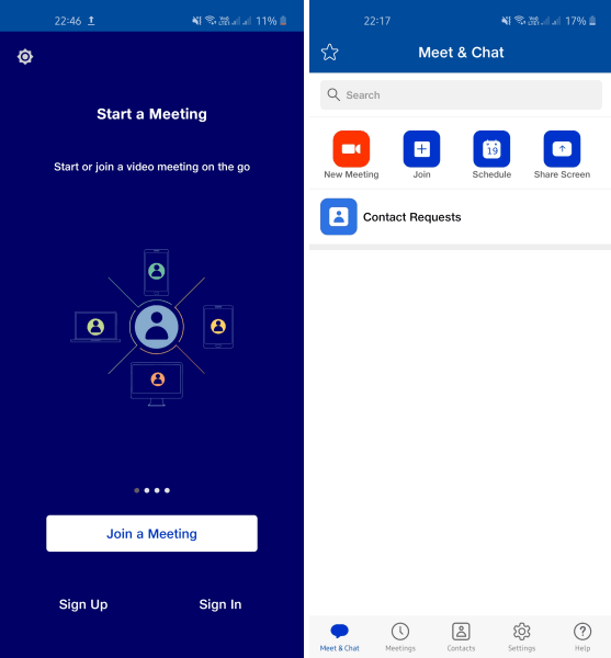 Jio Meet Sign Up and Main UI