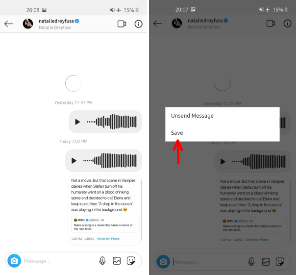 Save Instagram Voice Message