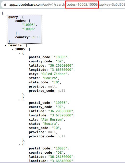 Zipcodebase in action