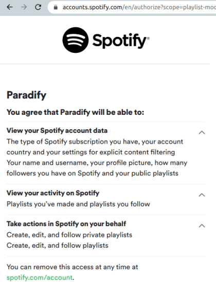 authorize spotify account