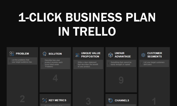 Create 1-Page Business Plan in Trello: Lean Canvas