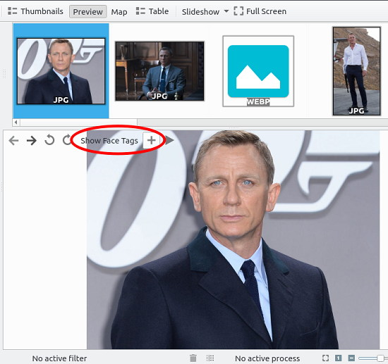 digiKam open a image and add a face tag
