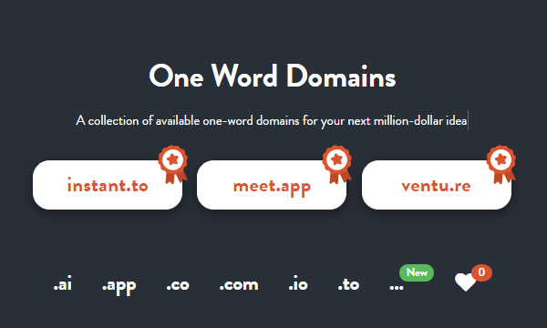 Find 1 Word Available Domains by Word Length, Letter, Nouns, Verbs, Adjectives