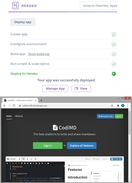 heroku app hosted