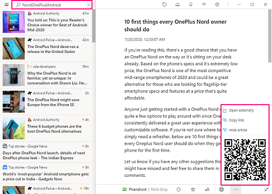 minimal feeds with qr code share