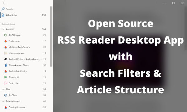 Open Source RSS Reader with Search Filters, Article Structure