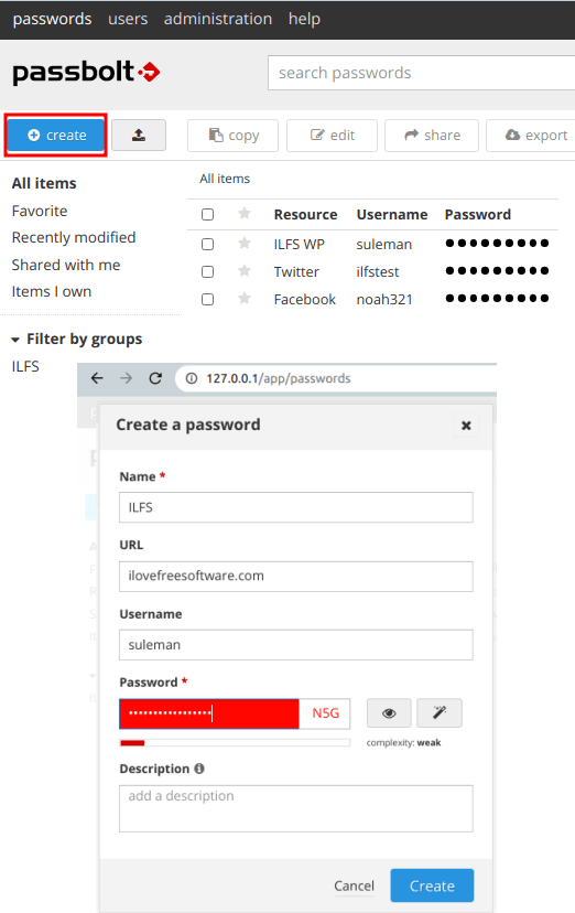 passbolt create passwords