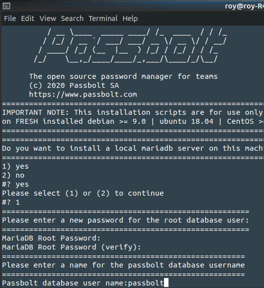 passbolt database server