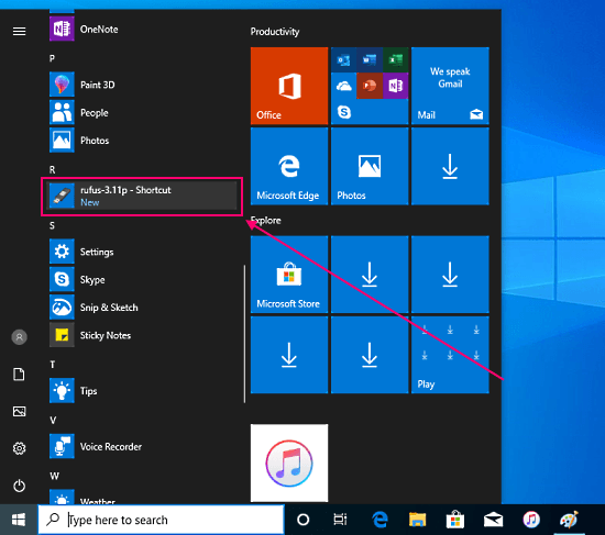pin app to the start menu