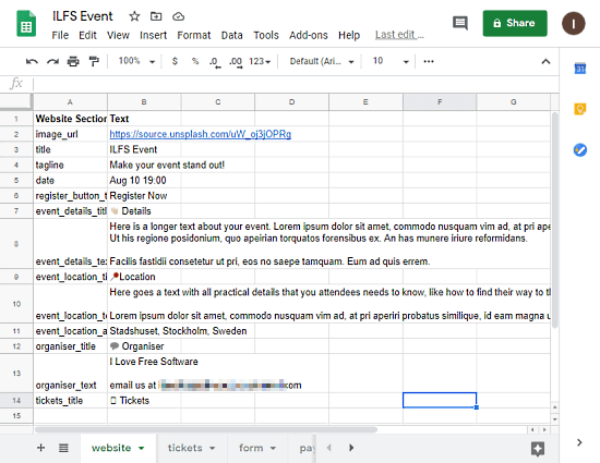 edit website in google sheets
