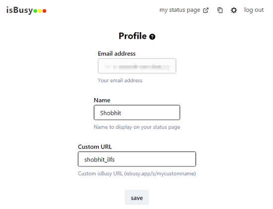 create personal status page to show your availability