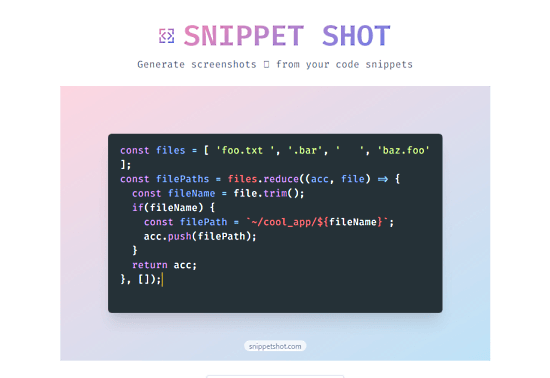 Generate Screenshot of Code Snippets
