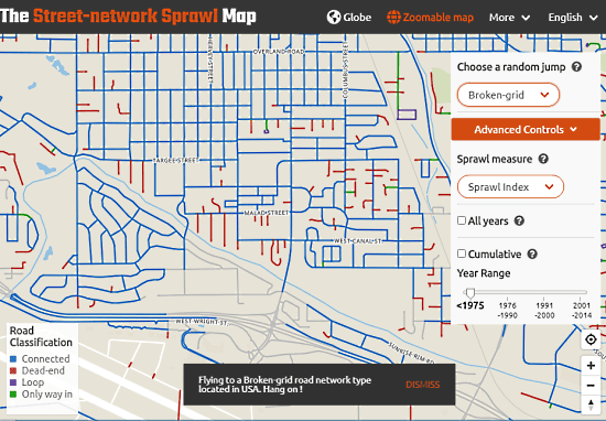 check street connectivity with sprawl map
