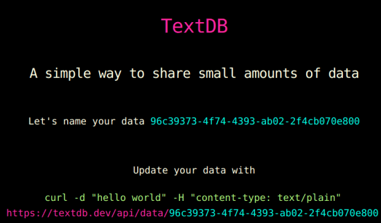 textdb Text Based Data Sharing Service for Prototype Apps
