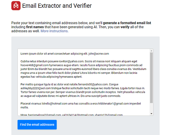 gmail email extraction and verification