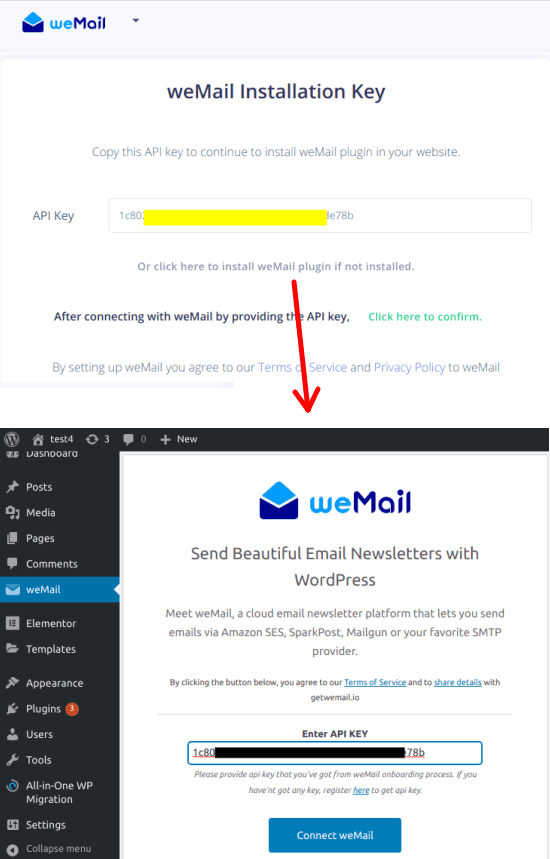 weMail API Key