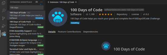 100 Days of Code in VS Code Marketplace