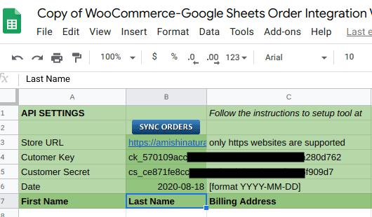 Add API parameters in the sheet