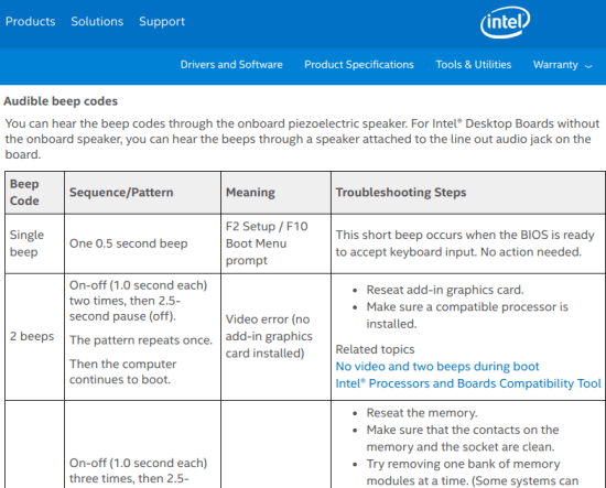Beep codes on Intel website