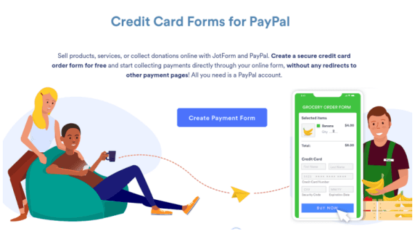 Credit card forms for paypal