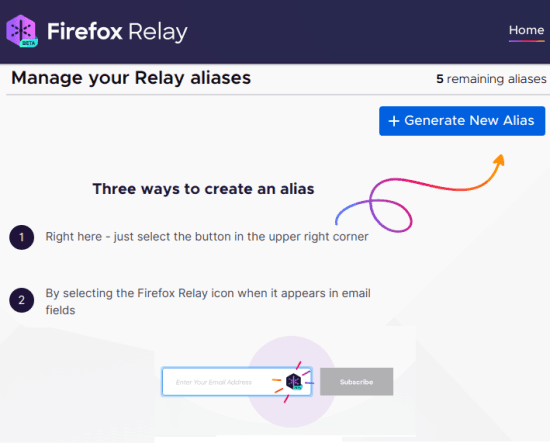 Firefox Relay Home