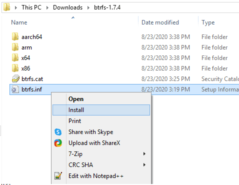 Install Btrfs Disk Controller Drivers Windws 10