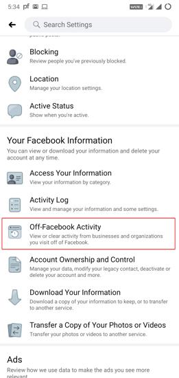 Off-Facebook Activity