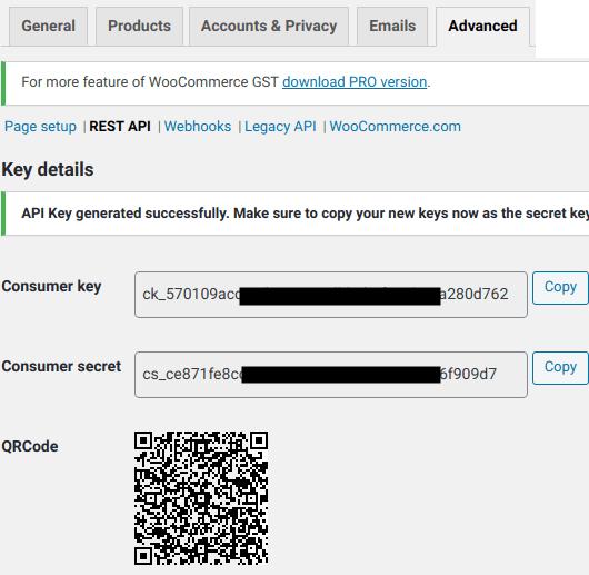 WooCommerce API Keys generated